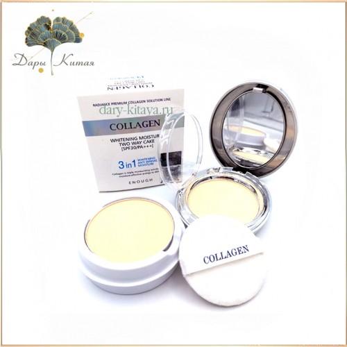 Осветляющая пудра со сменным блоком Enough Collagen Whitening Moisture Two Way Cake SPF30 PA+++