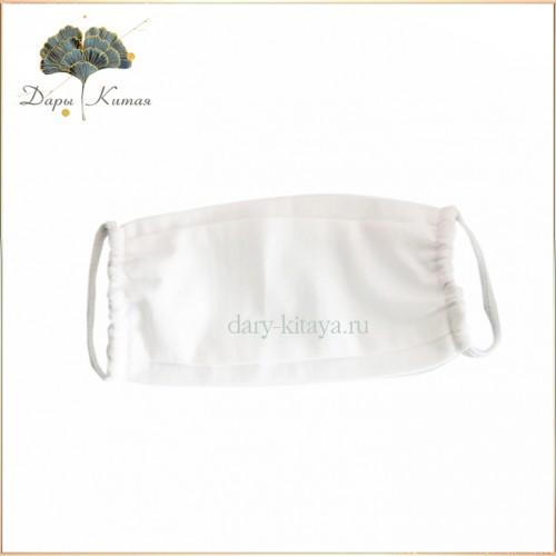 Маска защитная для лица многоразовая х/б двухслойная белая 20 х 10 см